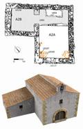 Ermita del siglo XVII: planta y reconstrucción virtual (realizada por J. Molina y D. Tejerina)