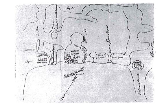 Croquis de la topografía antigua de Alicante, según M. Rico (1850-1913)
