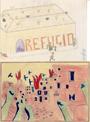 Dibujos realizados por: F. Pozo (enero de 1938), 13 años, curso 3º B (València) (izq.); J. Aparicio Alonso (12 años), Escola-Llar de Antella (der.). Fuente: They Still Draw Pictures, Mandeville Special Collections Library, University of California, San Di